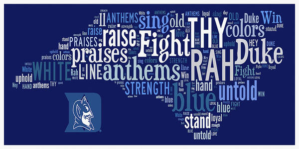 Cheerleaders Digital Art - Duke - We Thy Anthems Raise by Paulette B Wright