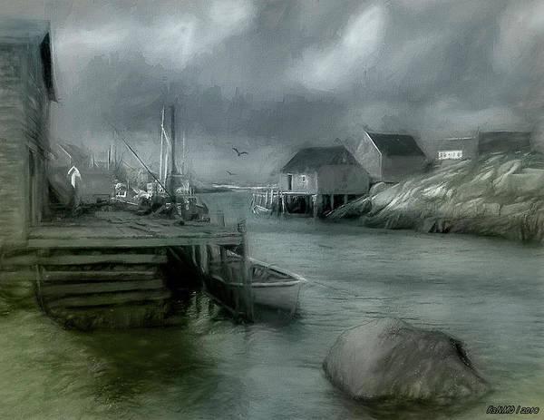 Ken Morris Digital Art - Dull Fall Day In Peggys Cove by Ken Morris