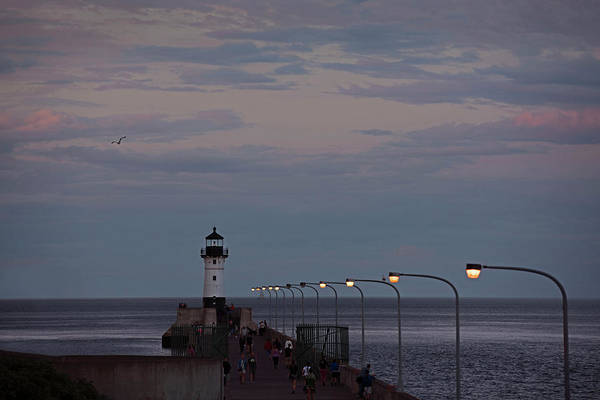 Photograph - Duluth Lighthouse At Dusk by David Lunde