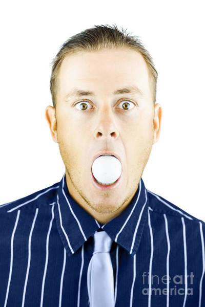 Eye Ball Photograph - Dumbfounded Man Silenced By A Golf Ball by Jorgo Photography - Wall Art Gallery