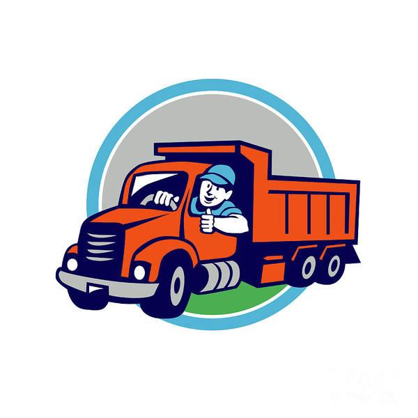 Dump Truck Digital Art - Dump Truck Driver Thumbs Up Circle Cartoon by Aloysius Patrimonio