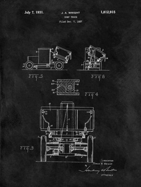 Wall Art - Drawing - Dump Truck Patent by Dan Sproul