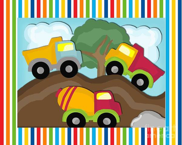 Dump Truck Digital Art - Dump Trucks by Cheryl Killian