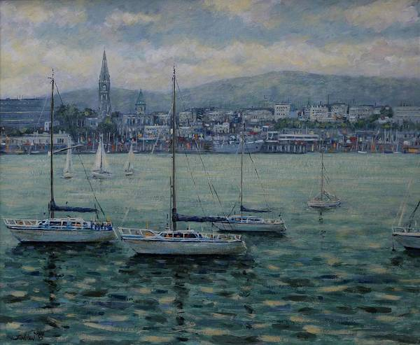 Wall Art - Painting - Dun Laoghaire Harbour Dublin by John  Nolan