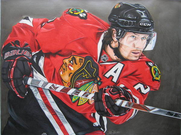 Hawk Drawing - Duncan Keith by Brian Schuster