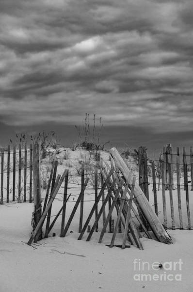 Photograph - Dune Fence And Cloudy Skies by Debra Fedchin