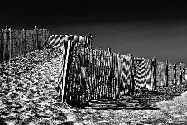 Photograph - Dune Fence, Black And White by Bill Jonscher