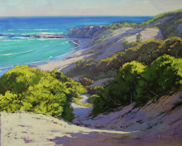 Coastal Scene Painting - Dunes At Slodiers Beach by Graham Gercken