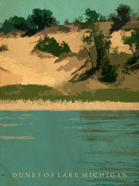 Graphic Digital Art - Dunes Of Lake Michigan Antiqued by Michelle Calkins
