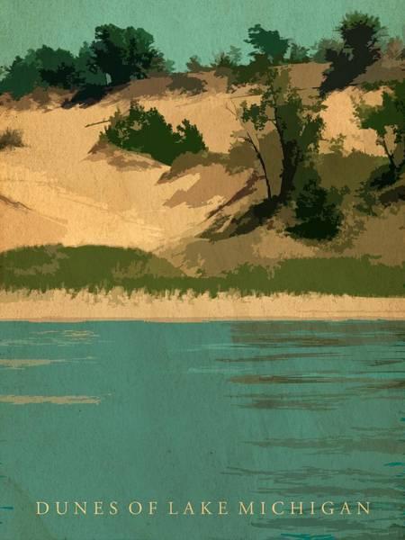 Digital Art - Dunes Of Lake Michigan Antiqued by Michelle Calkins