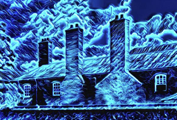 Digital Art - English Building Blue Night Ghost Edition by Matthias Hauser
