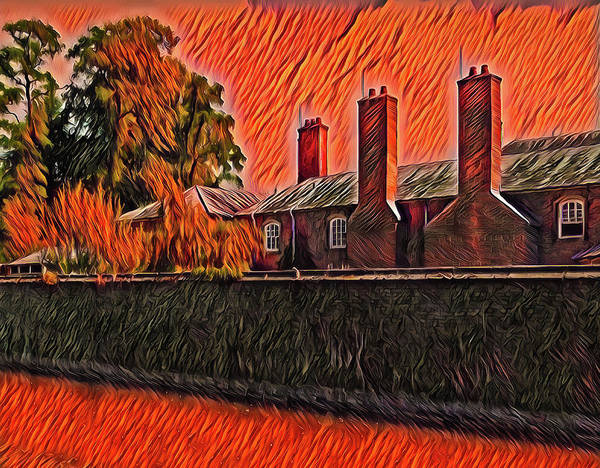 Photograph - English Building Red Fire In The Sky Edition by Matthias Hauser