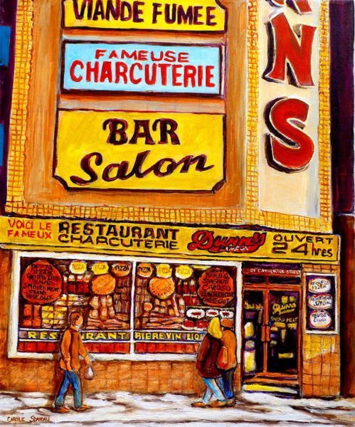 Luncheonettes Painting - Dunn's Restaurant Montreal by Carole Spandau