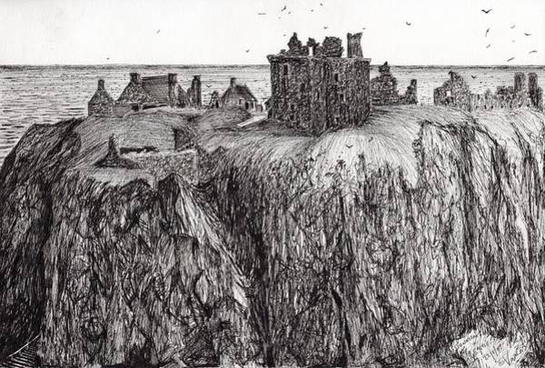 Castle Drawing - Dunottar Castle by Vincent Alexander Booth