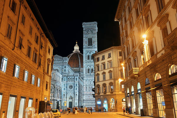 Photograph - Duomo Santa Maria Del Fiore Street Night by Songquan Deng
