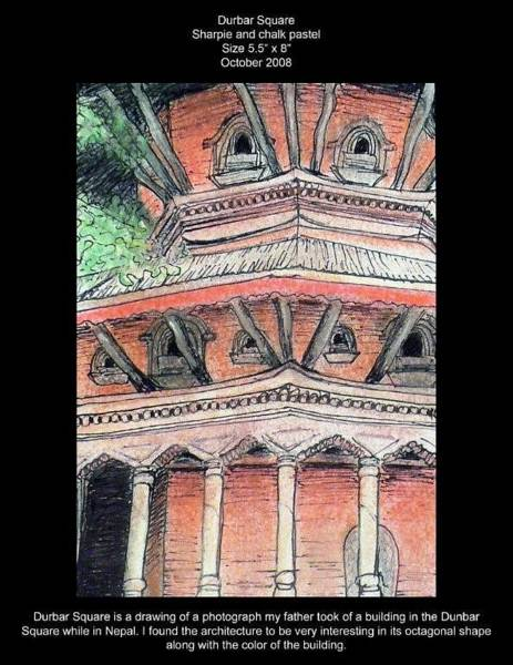 Wall Art - Drawing - Durbar Square by Lauren  Pecor