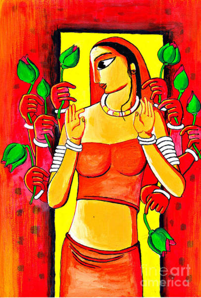 Wall Art - Painting - Durga by Rakesh Kushwaha