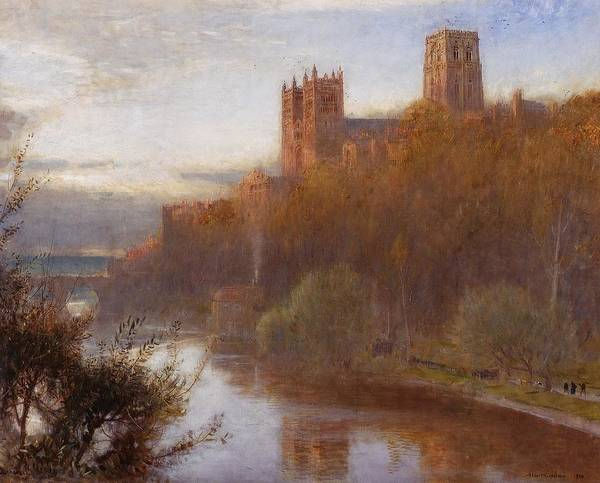 Cathedral Painting - Durham Cathedral by Albert Goodwin