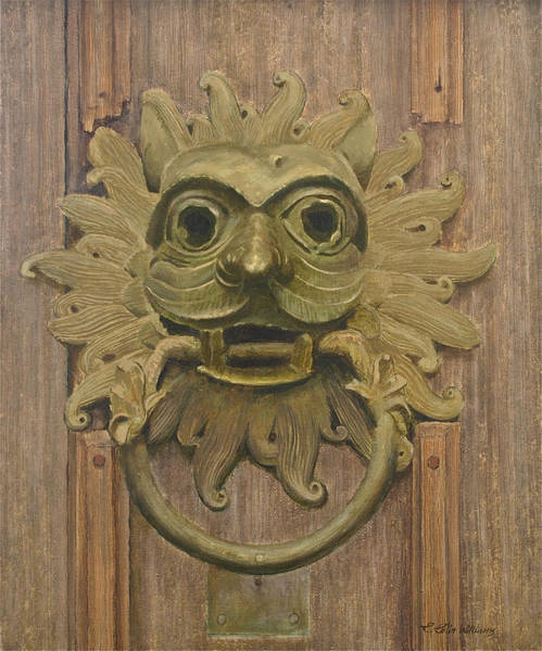 Painting - Durham Cathedral Door Knocker by E Colin Williams ARCA