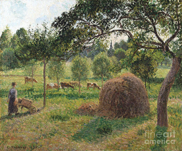 Wall Art - Painting - Dusk At Eragny by Camille Pissarro