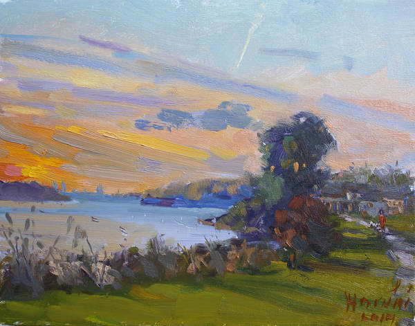 Wall Art - Painting - Dusk At Gratwick Park  by Ylli Haruni