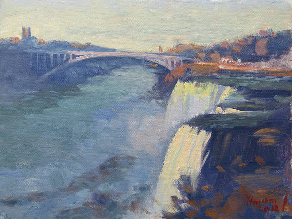 Wall Art - Painting - Dusk At Niagara Falls by Ylli Haruni