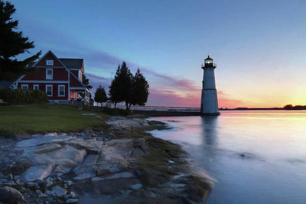 Fisher Island Photograph - Dusk At Rock Island Lighthouse by Lori Deiter