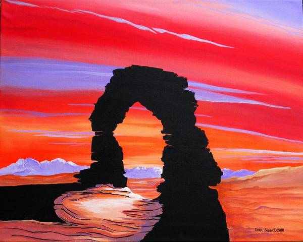 Wall Art - Painting - Dusk At The Arches Ut by Carol Sabo