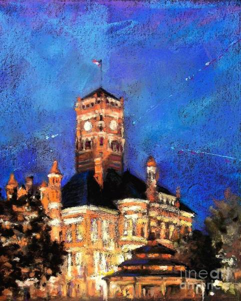 Courthouse Painting - Dusk At The Courthouse Square by Shelley Schoenherr