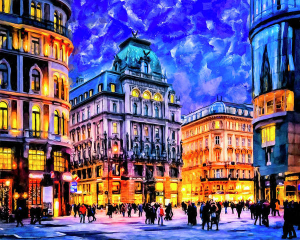 Baroque Mixed Media - Dusk Blue Skies Over Vienna by Mark Tisdale
