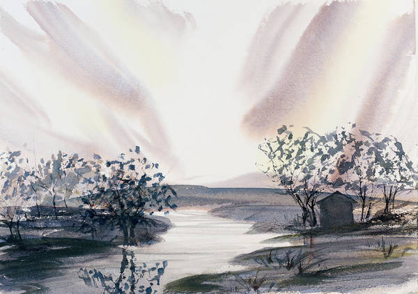 Painting - Dusk Creeping Up The River by Dorothy Darden