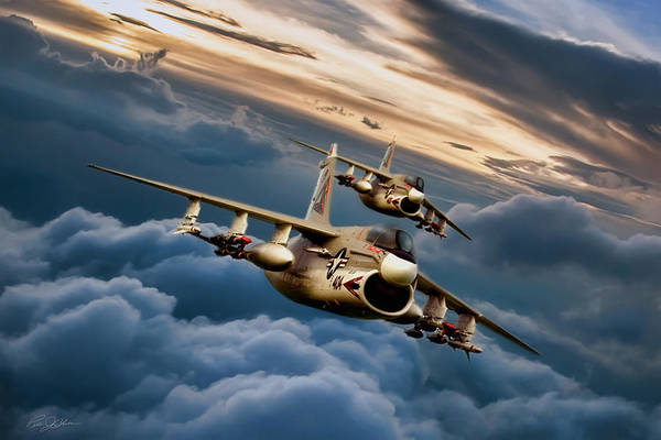 United States Air Force Digital Art - Dusk Delivery Corsair II by Peter Chilelli