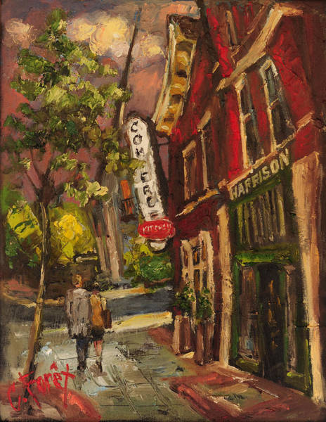 Wall Art - Painting - Dusk In Downtown by Carole Foret