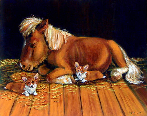Barnyard Animal Painting - Dusk In The Barn - Pembroke Welsh Corgi by Lyn Cook