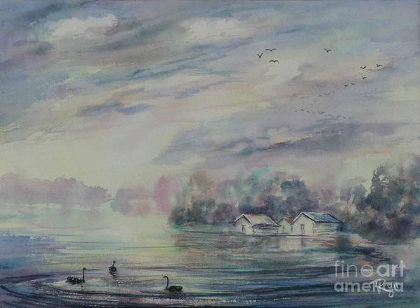 Painting - Dusk, Lake Wendouree by Ryn Shell
