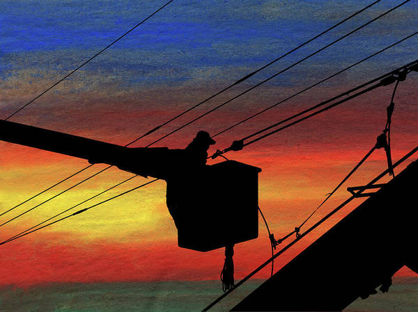 Power Distribution Mixed Media - Dusk On The Line by R Kyllo