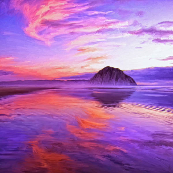 Morro Bay Painting - Dusk On The Morro Strand by Dominic Piperata