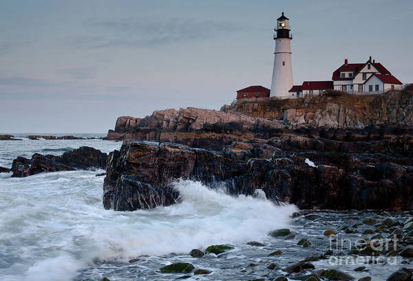 Photograph - Dusk, Portland Head Light #7989-7991 by John Bald