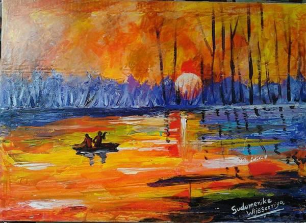 Wall Art - Painting - Dusk by Sudumenike Wijesooriya