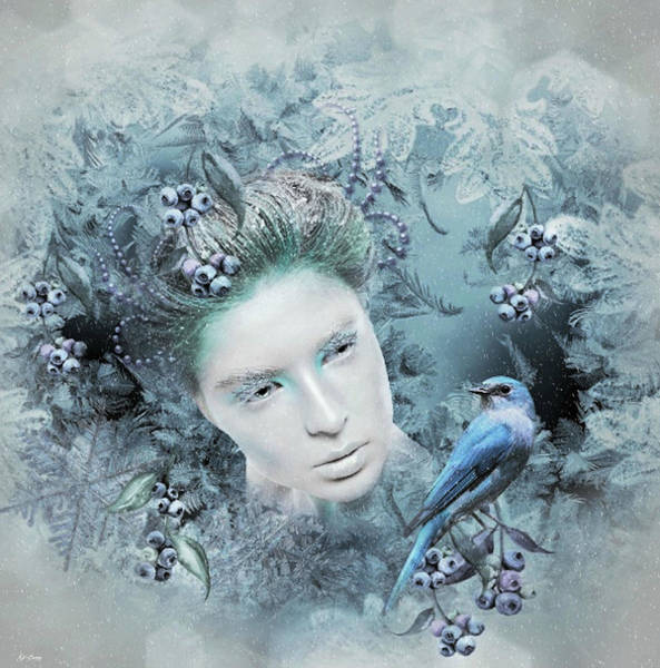 Bluebird Mixed Media - Dust Of Snow by G Berry