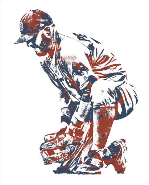 Wall Art - Mixed Media - Dustin Pedroia Boston Red Sox Pixel Art 10 by Joe Hamilton