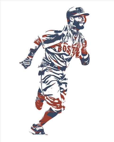 Wall Art - Mixed Media - Dustin Pedroia Boston Red Sox Pixel Art 11 by Joe Hamilton