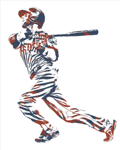 Wall Art - Mixed Media - Dustin Pedroia Boston Red Sox Pixel Art 12 by Joe Hamilton