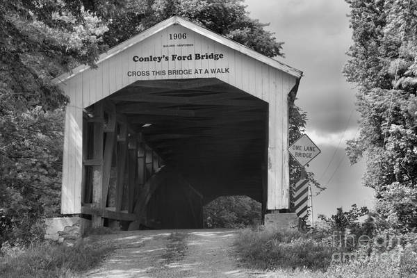 Ford Van Photograph - Dusty Cay At Conley's Ford Covered Bridge Black And White by Adam Jewell