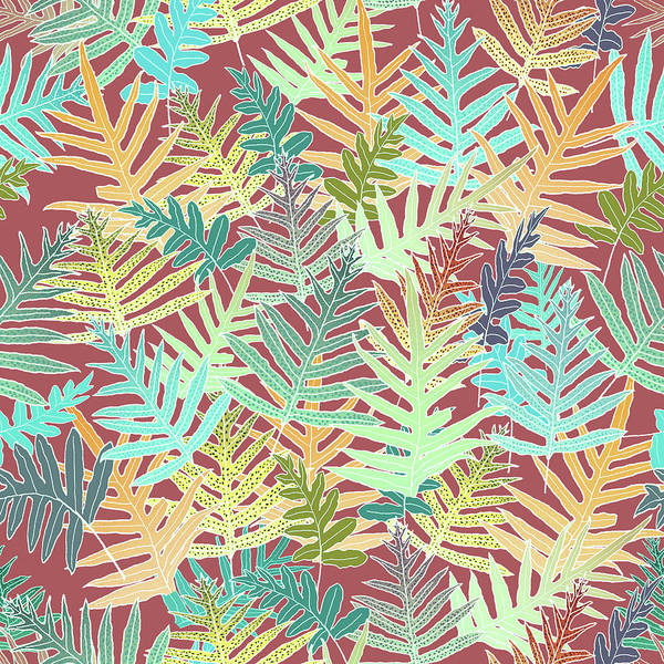 Digital Art - Dusty Cedar Ferns Aqua by Karen Dyson