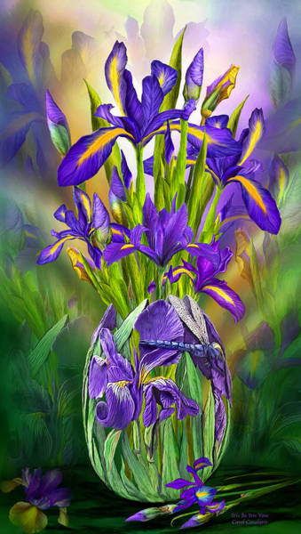 Purple Iris Mixed Media - Dutch Iris In Iris Vase by Carol Cavalaris