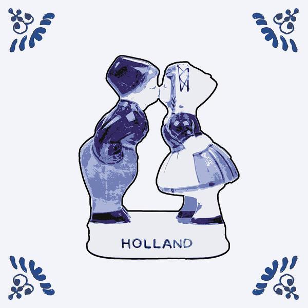 Wooden Shoe Digital Art - Dutch Kissing Couple by Dutch Souvenirs