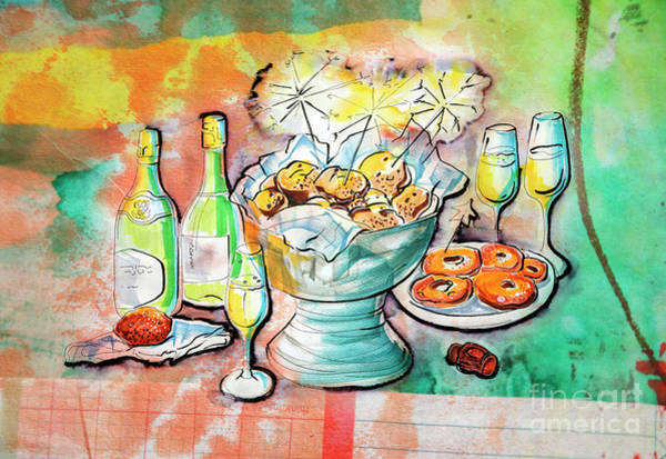 Drawing - Dutch New Year Party by Ariadna De Raadt