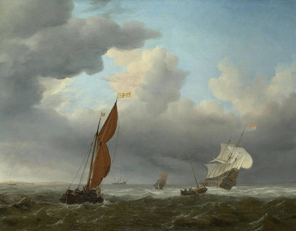 Gloomy Painting -  Dutch Ship And Other Small Vessels In A Strong Breeze by Willem van de Velde