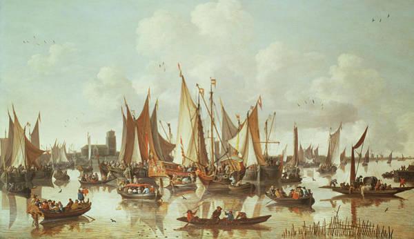 Flying The Flag Wall Art - Painting - Dutch Ships At Dordrecht Harbor by Hendrick de Meyer